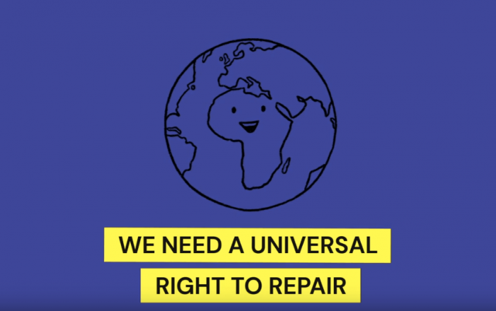 "Purple bckground with illustration of the global, entered on Africa with a smiley face. Has a tagline of ""We need a universal right to repair"""