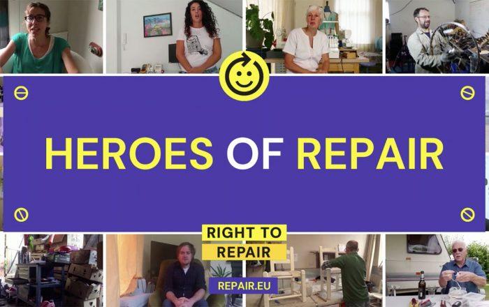 """Screenshots of men and women at home fixing electronics. Has the title """"Heroes of repair, right to repair, repair.eu"""""""